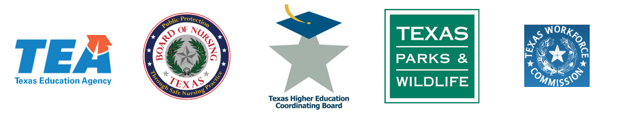 TEA, Bord of Nursing, Texas Higher Education Coordinating Board, TPWD, TWC