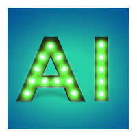 AI letters lit up against a blue background